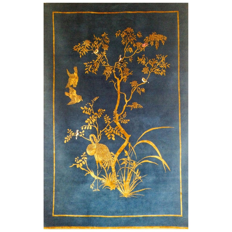 Jardin de Chinois Hand Knotted Wool and Silk Rug by Wendy Morrison For Sale