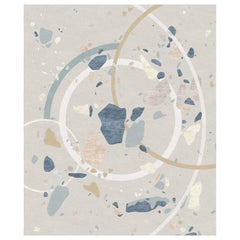 Jardin De Giverny, Designer Abstraction Hand Knotted Wool Silk Rug