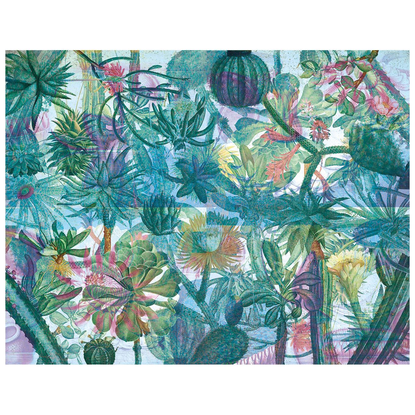 Jardin de l'Ourika - custom mural wallpaper (color water green & light blue)