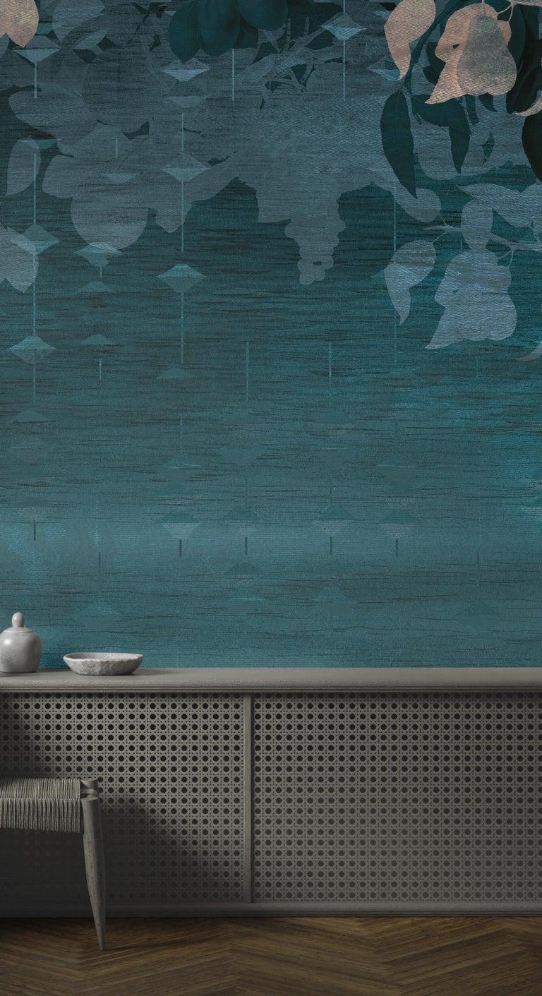 French Jardin du Palais - custom mural wallpaper (dark blue) For Sale