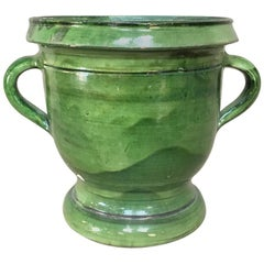 Jardinière, 19th Century Country French Glazed Green Earthenware Pot