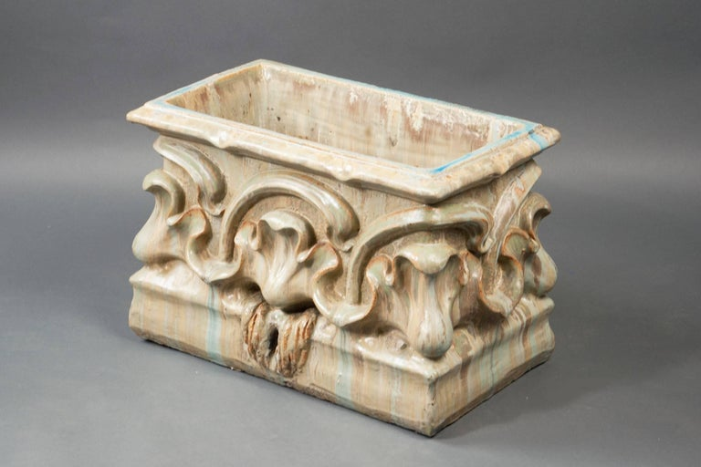"""Alexandre Bigot (1862-1927) Glazed stoneware ceramic jardinières, decorated on the outer wall with a foliage motif.  The pieces could be used as planters or sinks.   Measures: Height 16-1/2"""" width 23-5/8"""" depth 13-3/8""""."""