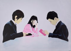 At School IV - Contemporary Figurative Oil Painting, Romantic, Bright Colors