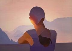 Distant View - Contemporary Figurative Oil Painting, Romantic, Light, Landscape