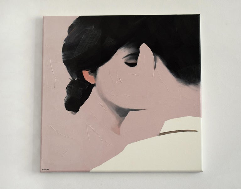 Lovers IX - Contemporary Figurative Oil Painting, Landscape, Portrait, Love - Beige Portrait Painting by Jarek Puczel