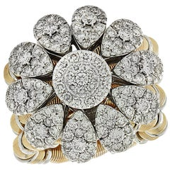 Jaretierre Italy 3.5 Carat Diamond, Yellow and White Gold Expandable Ring