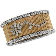 Jaretierre Italy Diamond, Yellow and White Gold Expandable Bangle Bracelet