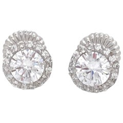 Jarin 1ct Faux Diamond Halo Stud Sterling Silver Earrings