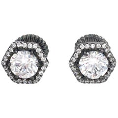 Jarin 1ct Faux Diamond Hexagon Halo Stud Sterling Silver Earrings