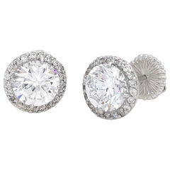 Jarin 2ct Faux Diamond Halo Stud Sterling Silver Earrings
