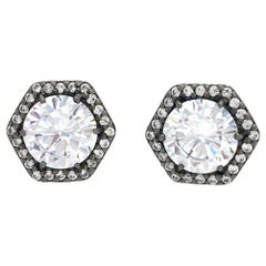 Jarin 2ct Faux Diamond Hexagon Halo Stud Sterling Silver Earrings