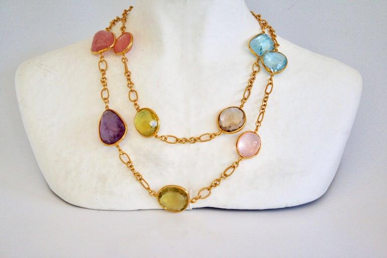Jarin K Aquamarine, Lemon Quartz, Smoky Quartz, and Pink Quartz Necklace In New Condition For Sale In Virginia Beach, VA