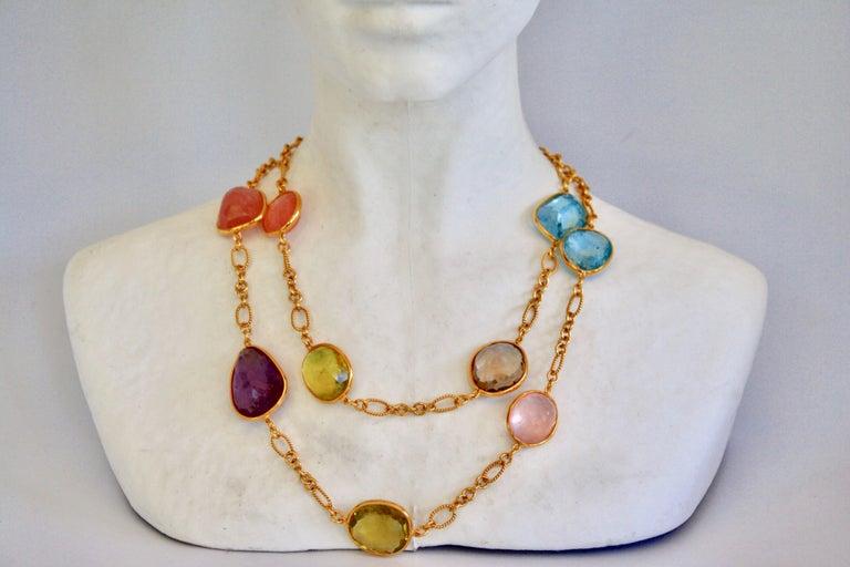 Women's Jarin K Aquamarine, Lemon Quartz, Smoky Quartz, and Pink Quartz Necklace For Sale