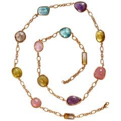 Jarin K Aquamarine, Lemon Quartz, Smoky Quartz, and Pink Quartz Necklace