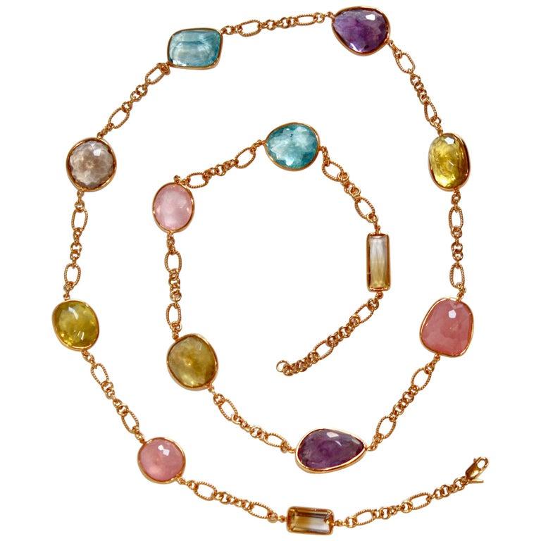 Jarin K Aquamarine, Lemon Quartz, Smoky Quartz, and Pink Quartz Necklace For Sale