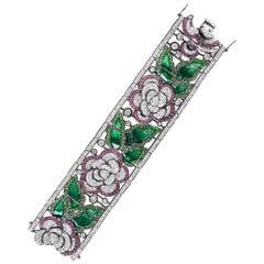 Jarin K Art Deco Enamel Flower Bracelet