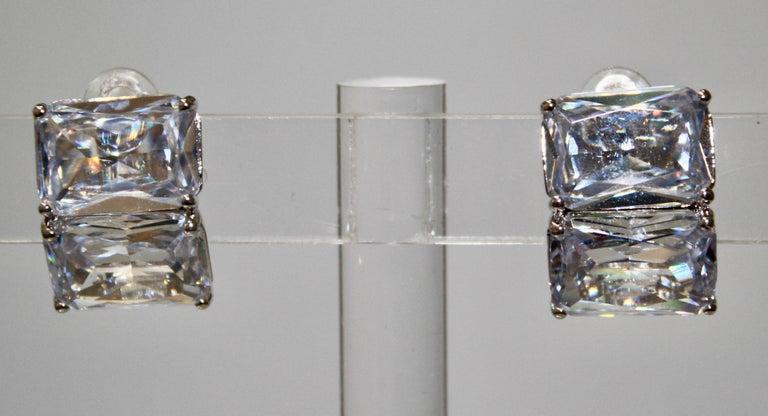Clip earrings set on rhodium. Vintage Hollywood inspired.
