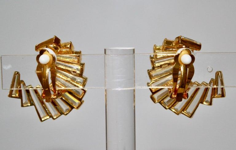 Art Deco Jarin K Gold Baguette Crescent Earrings For Sale