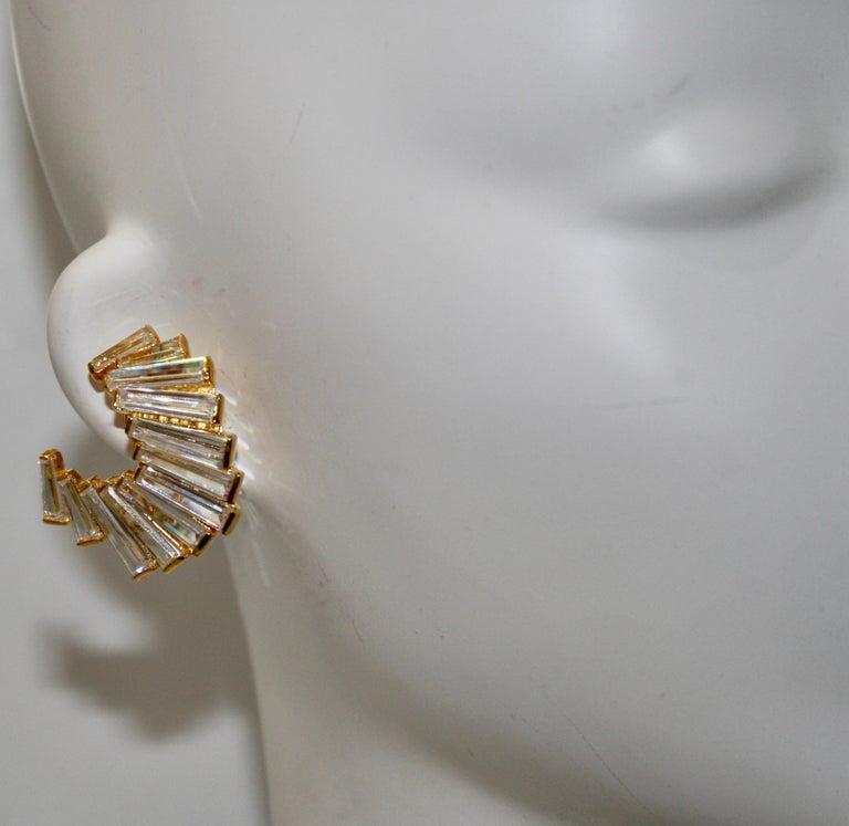 Women's or Men's Jarin K Gold Baguette Crescent Earrings For Sale