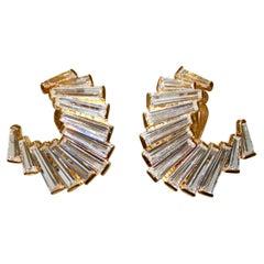 Jarin K Gold Baguette Crescent Earrings
