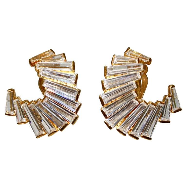 Jarin K Gold Baguette Crescent Earrings For Sale