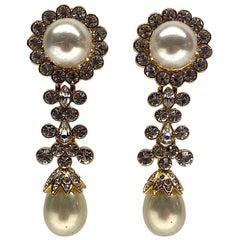 Jarin K of New York Gold, Rhinestone & Pearl Pendant Earrings