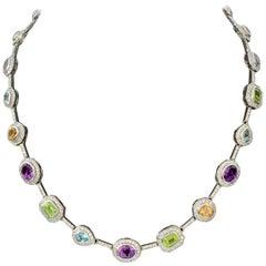 Jarin Multicolor Gemstones and Cubic Zirconia Necklace