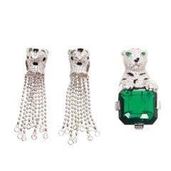 Jarin Sterling Silver Leopard Earring and Brooch Set