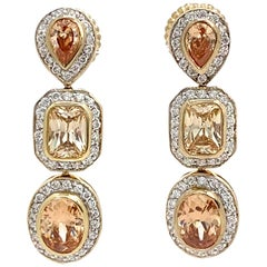 Jarin Triple Faux Champagne Diamond Drop Earrings
