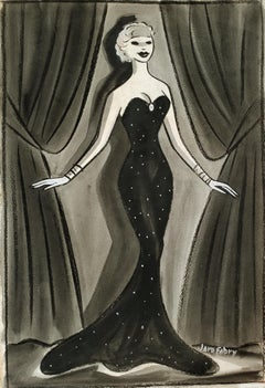 Glamorous Female Performer on Stage in Elegant  Art Deco Black Evening Dress
