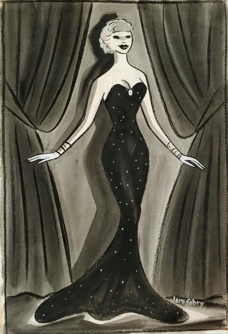Glamorous Performer in Art Deco Black Evening Dress, Golden Age of Hollywood  1