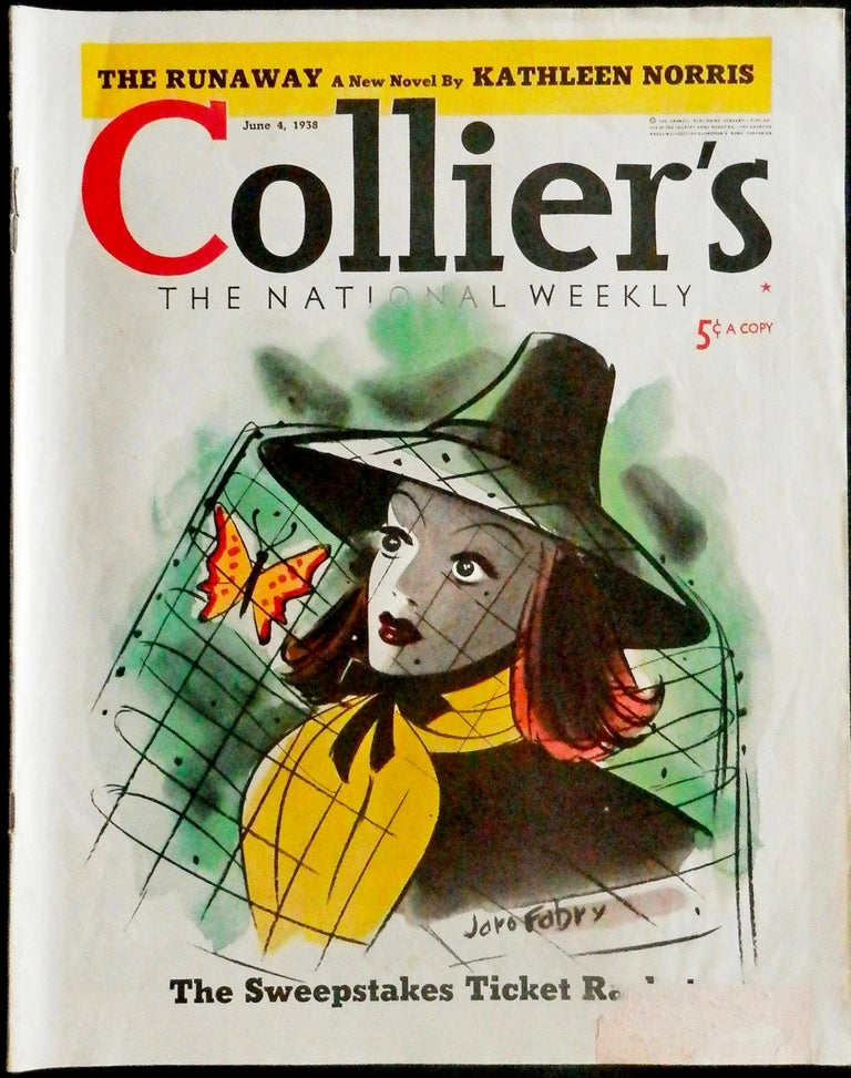 Woman with a butterfly in her hat. Colliers Magazine Cover 2