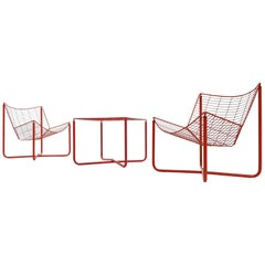 Jarpen Wire Chair and Matching Table by Niels Gammelgaard for IKEA, 1983
