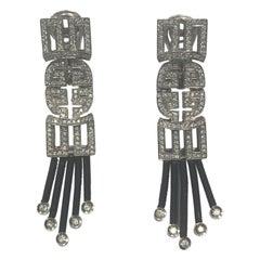 Jarretiere 18 Karat Black Gold Flexible Geometric Design Diamond Drop Earrings