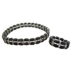 Jarretiere 18k Black Gold Stretch Bracelet & Ring
