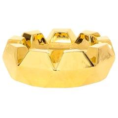 Jaru Bowl Ashtray, Ceramic, Metallic Gold, Faceted, Signed