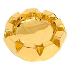 Jaru Bowl, Ceramic, Faceted, Metallic Gold, Signed