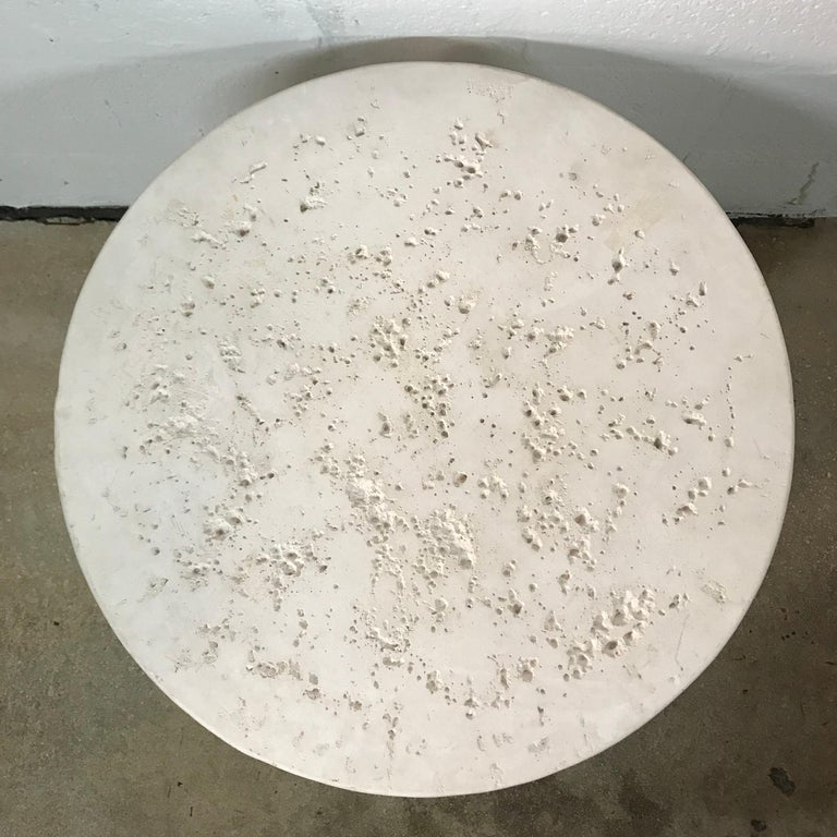 Post-Modern Jaru Cast Stone Postmodern Side End or Occasional Table, Signed, 1986 For Sale
