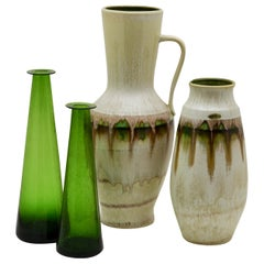 Jasba 'DE' / Braine-le-Comte 'BE' Vases with Green Drip Glazes 'Late 1960s'
