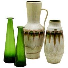 Jasba 'DE' / Braine-le-Comte 'BE' Vases with Green Drip Glazes, 'Late 1960s'