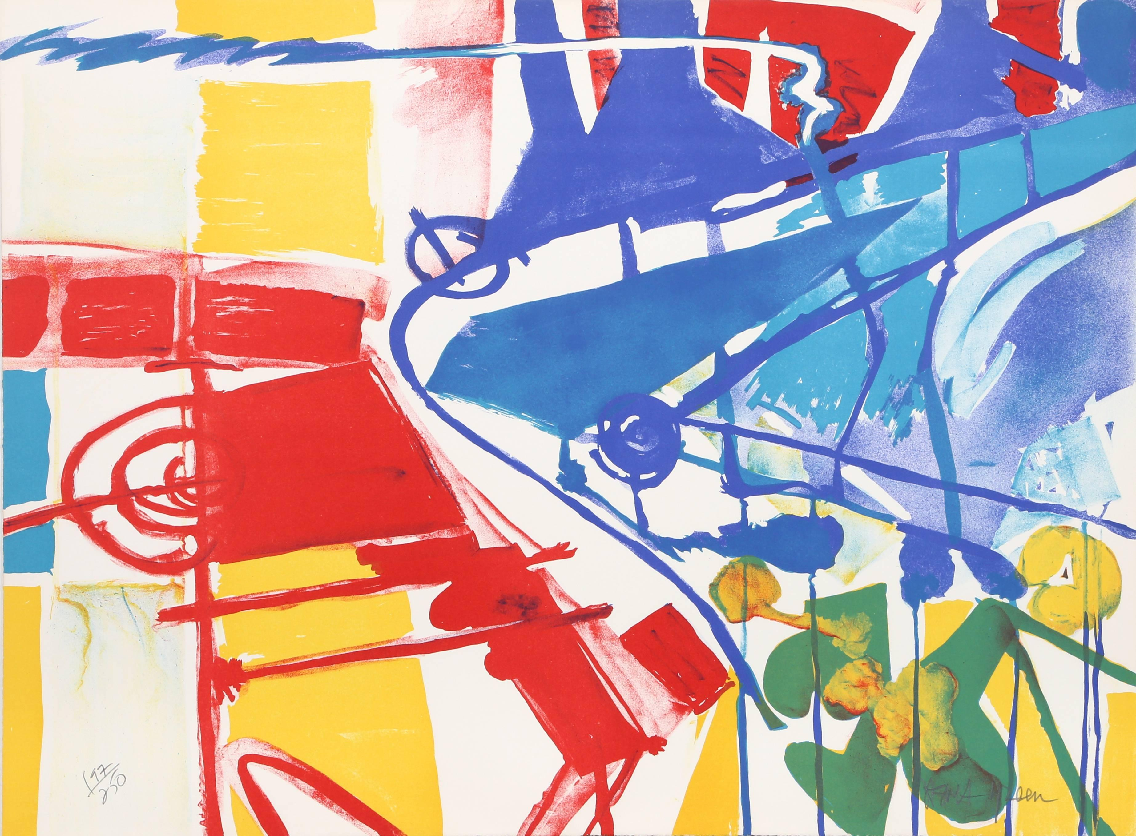 Abstract Primary Lithograph by Jasha Green