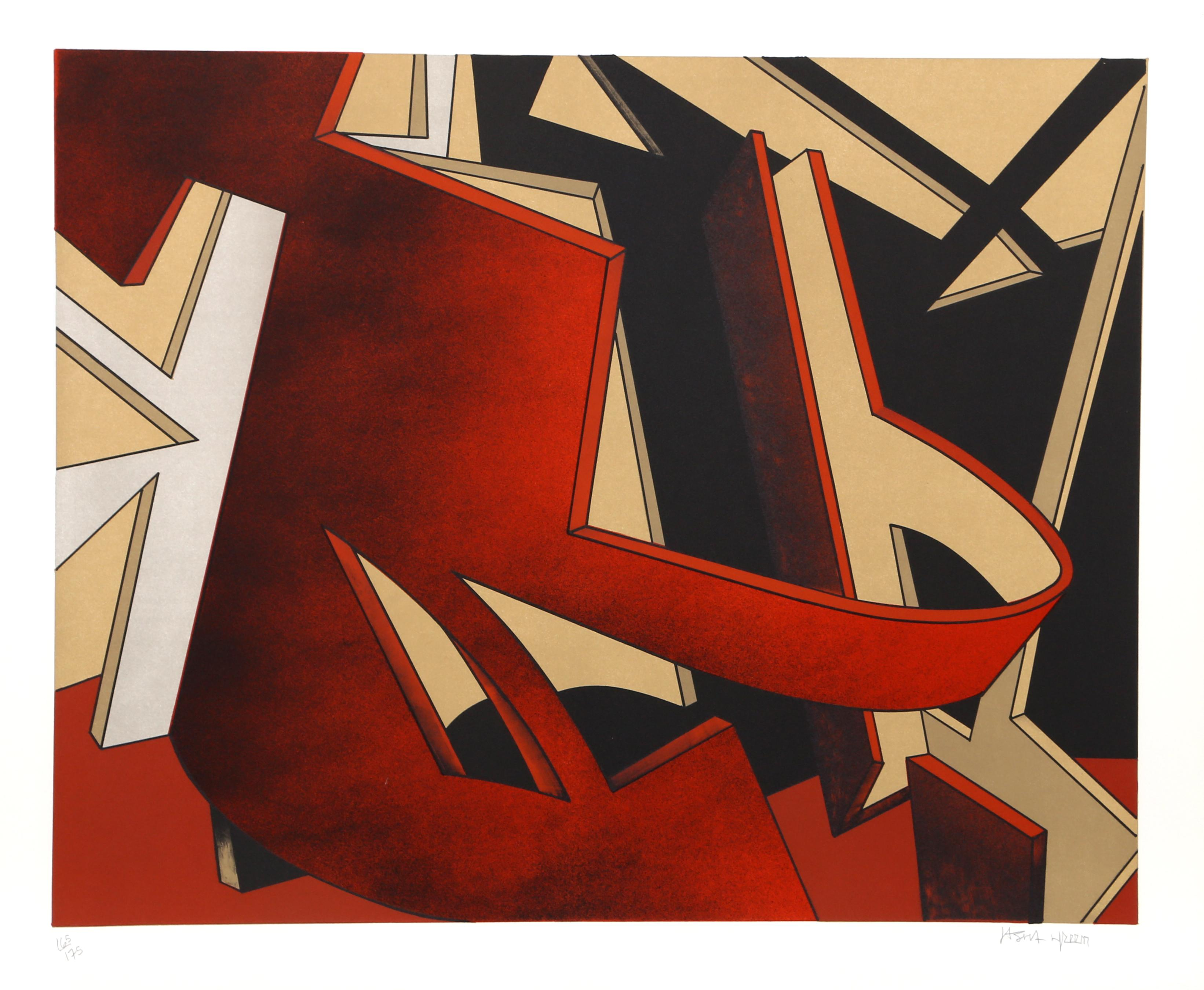 Geometric Abstract Lithograph by Jasha Green