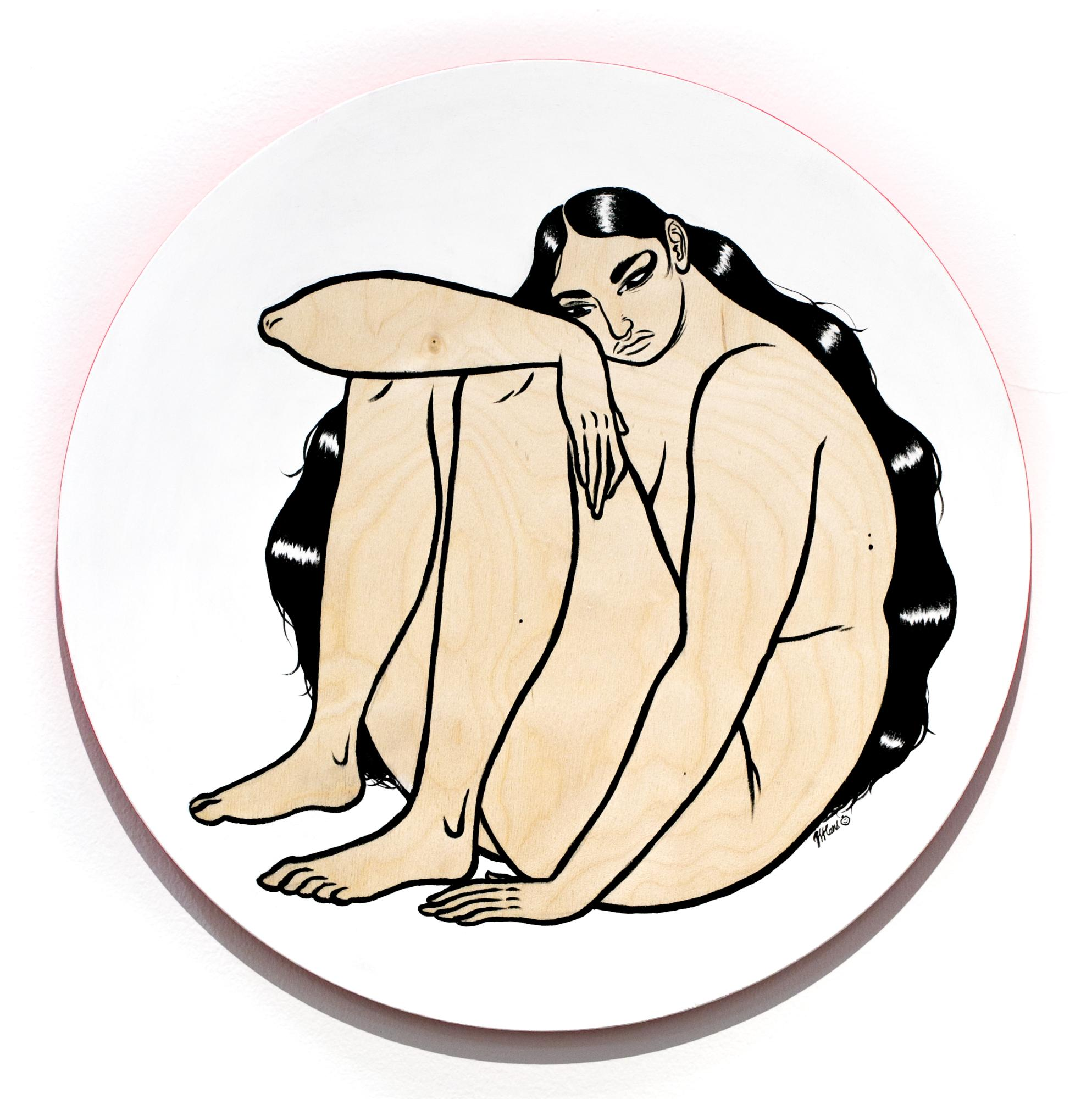 """""""SEATED"""", Seated Nude Painting on Circular Birch Wood, Black and White Paint"""
