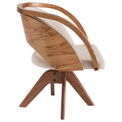Jasmin Swivel Armchair in Natural Wood and Linen