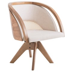 Jasmin Swivel Armchair in Natural Wood Cotton Straw and Linen
