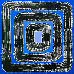 """Whirl"" Sumi Ink and Acrylic on Panel, Blue and Black, Abstract"