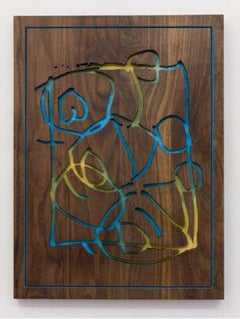 Faded Prospect, 2018 Walnut, acrylic paint, wood stain, wax 24 x 17.75 x 1.38""