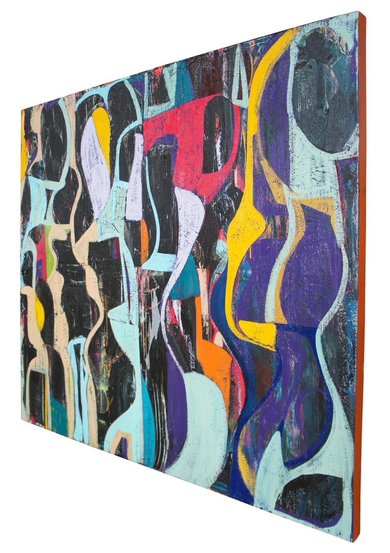 Jason Fascination Abstract Expressionist Acrylic Painting on Canvas In Good Condition For Sale In Dayton, OH