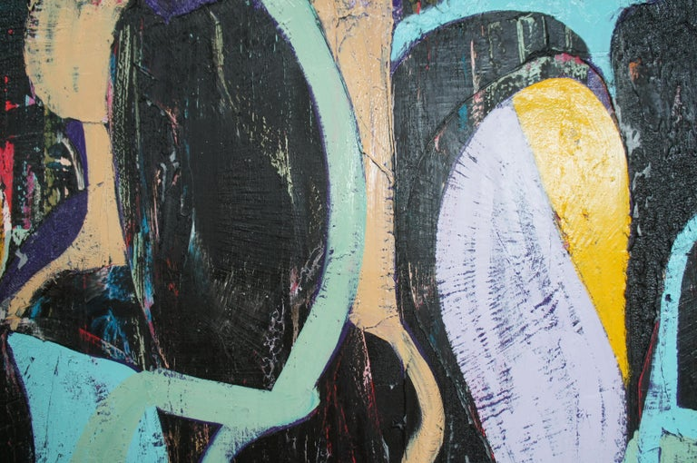 20th Century Jason Fascination Abstract Expressionist Acrylic Painting on Canvas For Sale