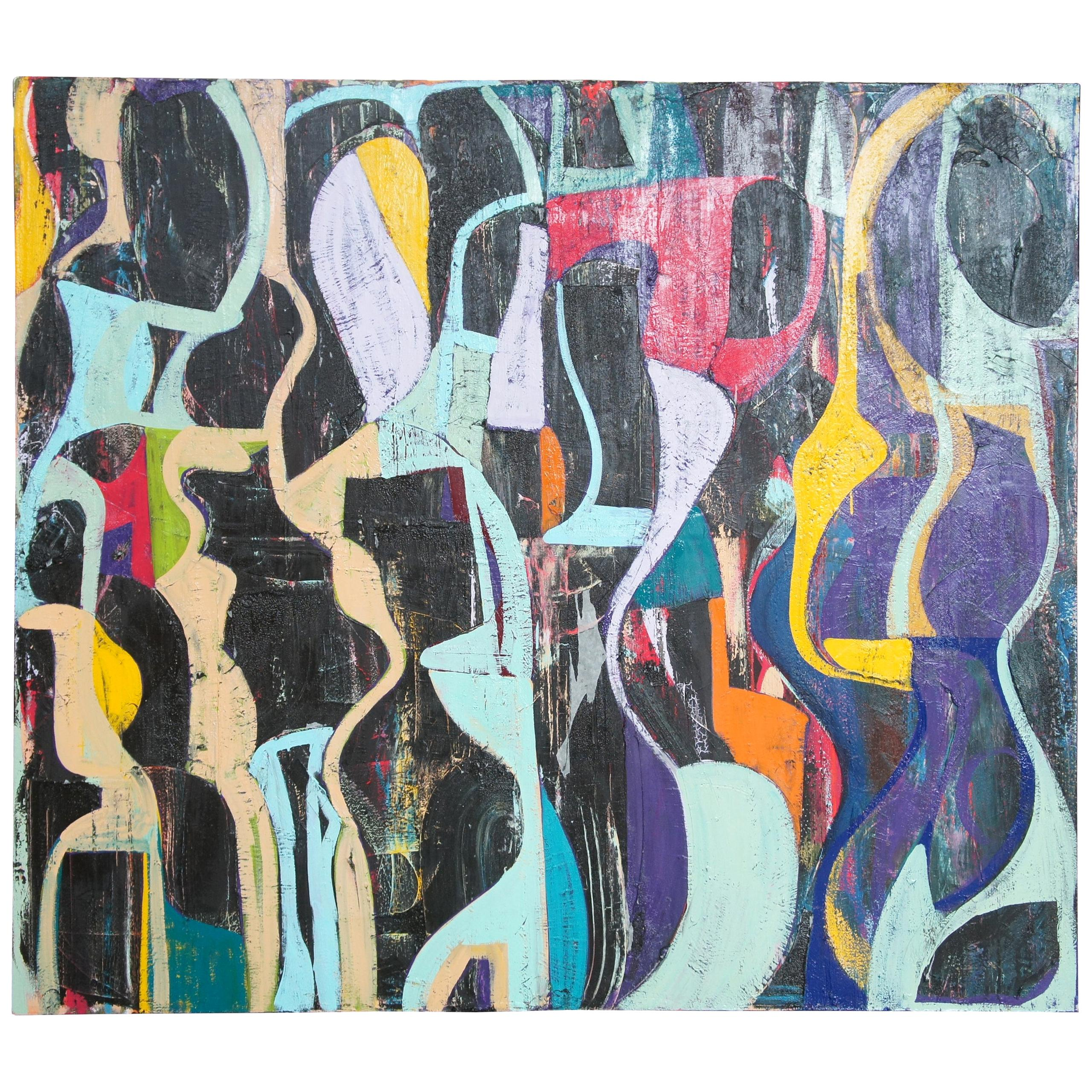 Jason Fascination Abstract Expressionist Acrylic Painting on Canvas
